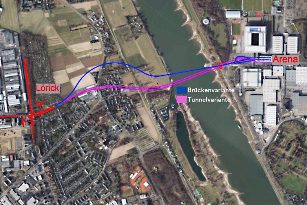 U81 Düsseldorf Rheinquerung Brücke oder Tunnel